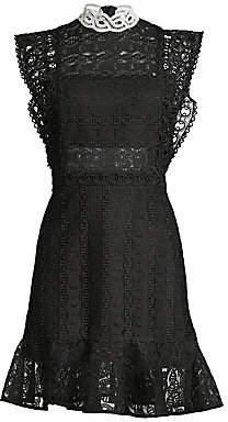 Sandro Women's France Guipure Lace High-Neck Mini Dress