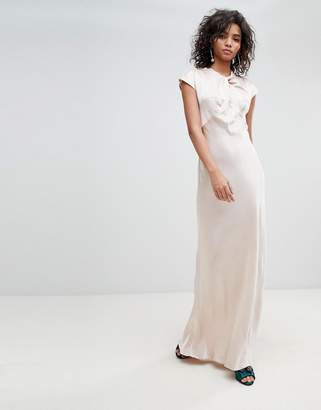 Ghost bridesmaid capped sleeve satin maxi dress with knot front