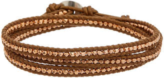 Chan Luu Rose Gold Over Silver Leather Wrap Bracelet