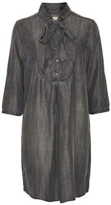 Cream Luna Denim Shirt Dress