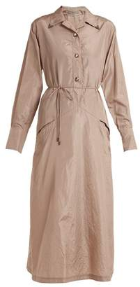 Bottega Veneta Tie Waist Silk Taffeta Shirtdress - Womens - Light Pink