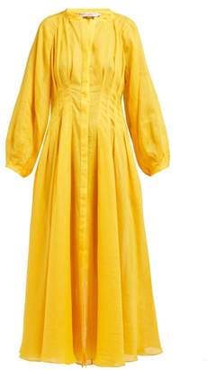 Three Graces London Valeraine Pleated Ramie Dress - Womens - Yellow