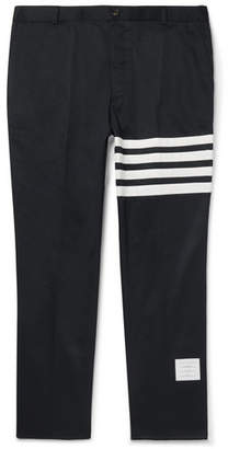 Thom Browne Navy Slim-Fit Cropped Striped Cotton-Twill Trousers - Men - Navy