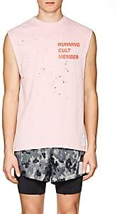 """Satisfy Men's """"Possessed"""" Distressed Cotton Muscle T-Shirt-Pink"""