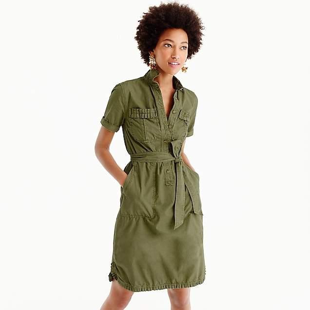 Ruffle-hem utility dress
