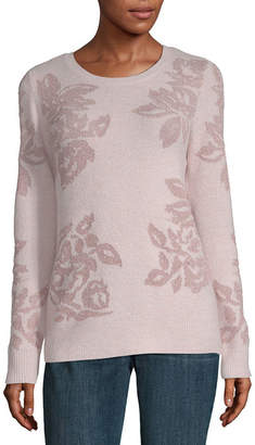 Liz Claiborne Womens Round Neck Long Sleeve Floral Pullover Sweater