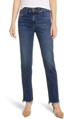 Caslon High Waist Raw Hem Boyfriend Jeans