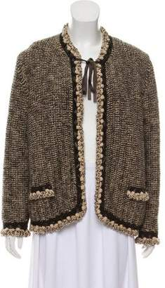Chanel Leather-Trimmed Wool Cardigan