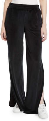 Cushnie Low-Rise Split-Leg Velour Active Pants