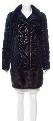 Emilio Pucci Fur & Leather Knee-Length Coat