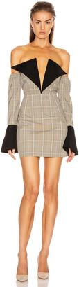 Atoir Sharp Edges Dress in Tan, Blue Check & Black | FWRD