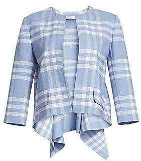 Oscar de la Renta Women's Plaid Two Pocket Three-Quarter Sleeve High-Low Jacket