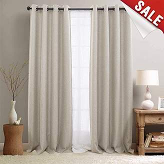 BEIGE Linen Textured 95 inch Long Room Darkening Sandy Curtains for Bedroom Light Reducing & Thermal Insulating Curtain Panel