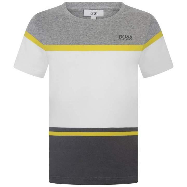BOSS KidsBoys Grey Striped Cotton Top