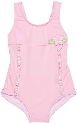 Florence Eiseman Solid One-Piece Swimsuit w/ Stripe Ruffle Trim, Size 6-24 Months