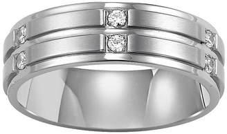 MODERN BRIDE Men's 7mm Diamond Band in Stainless Steel