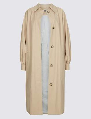 Marks and Spencer Cotton Rich Puff Sleeve Trench Coat