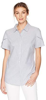 Lark & Ro Women's Pintucked Short Sleeve Collar Top