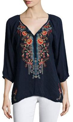 Johnny Was Olivia 3/4-Sleeve Embroidered Blouse $220 thestylecure.com
