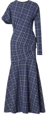 Calvin Klein Asymmetric Prince Of Wales Checked Cady Maxi Dress - Navy