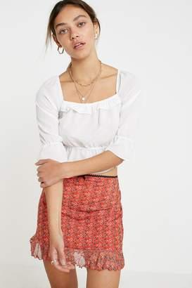 Urban Outfitters Floral Mesh Ruffle Mini Skirt