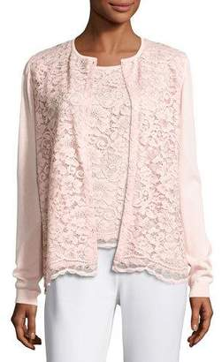 Joan Vass Lace-Front Cardigan, Light Pink, Plus Size