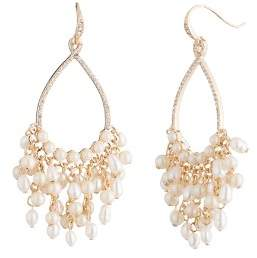 Carolee Gypsy Cultured Freshwater Pearl Cluster Drop Earrings
