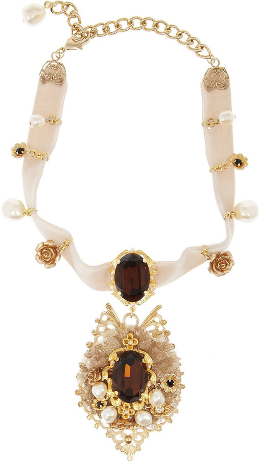 Dolce & Gabbana Gold-tone crystal and velvet necklace