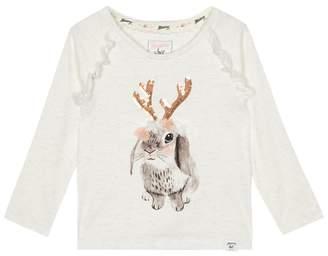 Mantaray Girls' White Rabbit Reindeer Print T-Shirt