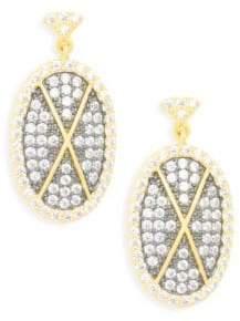 Freida Rothman Contemporary Deco Sterling Silver & Pavé Crystal Cross Drop Earrings
