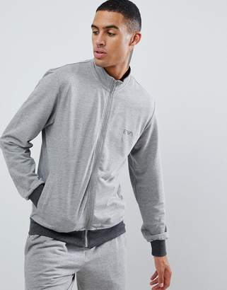 Emporio Armani EA logo zip-thru sweat in gray