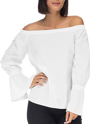 Bobeau B Collection by Coye Poplin Off-the-Shoulder Top