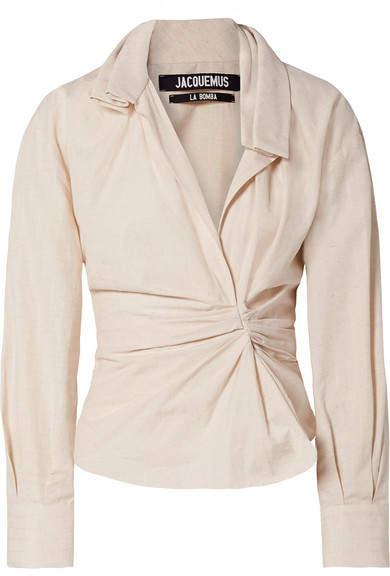 Jacquemus - La Chemise Belem Ruched Cotton And Linen-blend Shirt - Beige