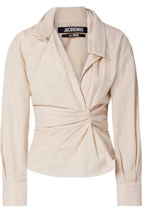 Jacquemus La Chemise Belem Ruched Cotton And Linen-blend Shirt - Beige