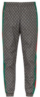 Gucci Gg Print Side Stripe Track Pants - Mens - Grey