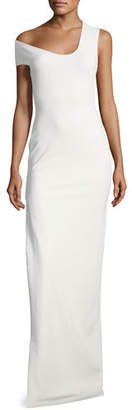 SOLACE London One-Shoulder Crepe-Knit Evening Gown