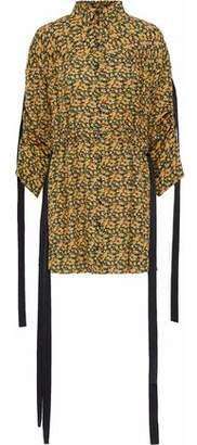Magda Butrym Goteborg Draped Floral-Print Silk Crepe De Chine Mini Dress