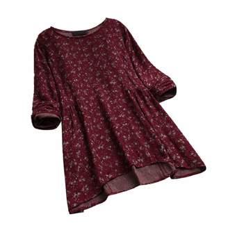 5e72105be2472d GONKOMA Women's Blouse GONKOMA Womens Plus Size Tunic Tops Vintage Floral  Print Long Sleeves Blouse Pullover