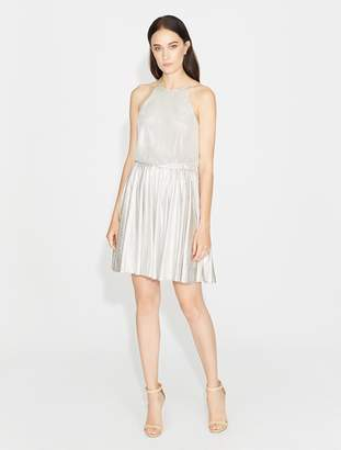 Halston Textured Metallic Jersey Dress