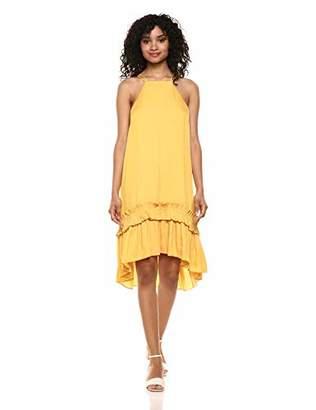 Halston Women's Sleeveless Dress with Pleated Ruffle Hi-Lo Hem