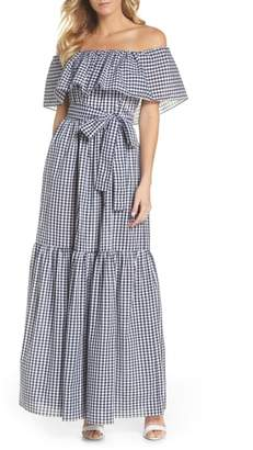 Chelsea28 Off the Shoulder Ruffle Gingham Maxi Dress