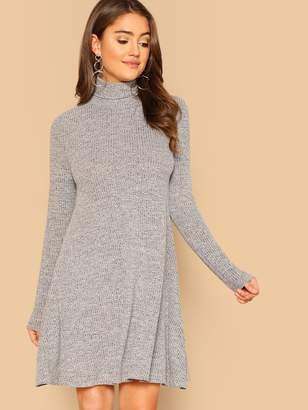 1ccfcd6820 Shein High Neck Marled Knit Swing Dress