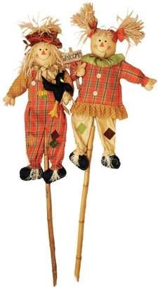 The Holiday Aisle 2 Piece Scarecrow on Pole Garden Stake Set