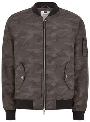 Topman Mens Grey Gray Camouflage Padded Bomber Jacket