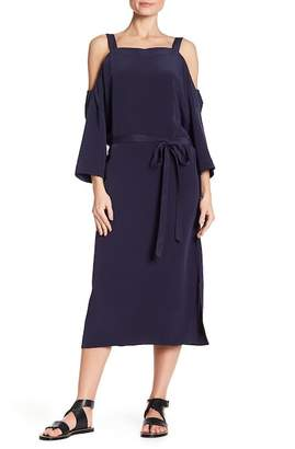 Tibi Cold Shoulder Silk Dress
