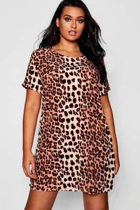 boohoo Plus Leopard Printed Shift Dress