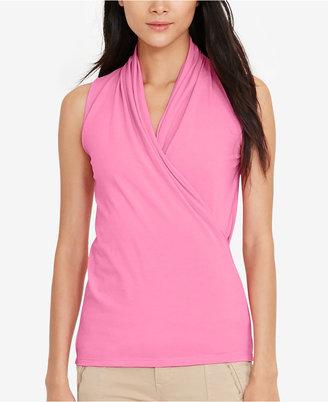 Lauren Ralph Lauren Faux-Wrap Surplice Shirt $59.50 thestylecure.com