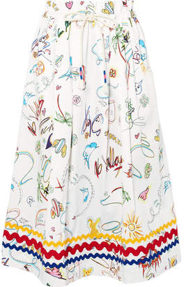 Mira Mikati Printed Cotton-blend Midi Skirt - White