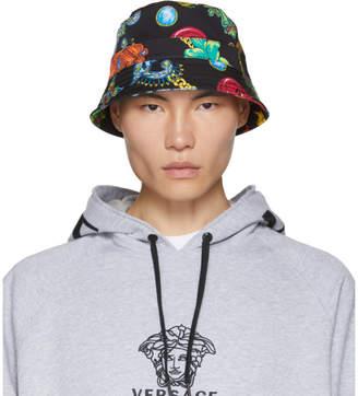 Versace Black Floral Bucket Hat