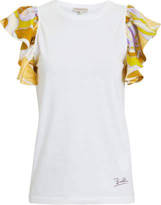 99c517f9a540 Emilio Pucci Printed Ruffle Sleeve White Top
